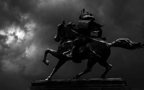 samurai, statue, horse, Japan