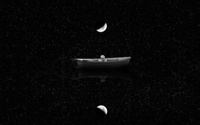 boat, stars, children, moon