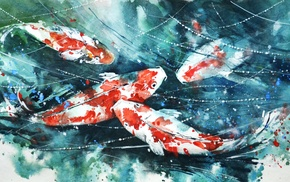 painting, fish, watercolor, koi, artwork, paint splatter