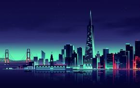 cityscape, night, colorful