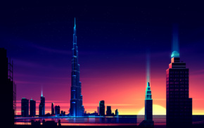 colorful, Dubai, night, Burj Khalifa, cityscape