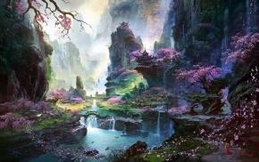 oriental, landscape, trees