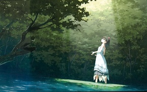 landscape, green, park, white dress, original characters, trees