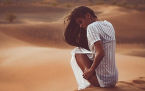looking down, desert, model, shirt, windy, sitting