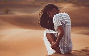 looking down, desert, model, shirt, windy, sitting