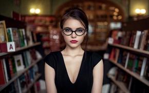 model, glasses, Oktyabrina Maximova, brunette, Maxim Guselnikov, brown eyes