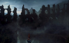 boat, Game of Thrones, ruins, water