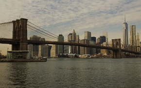 Brooklyn Bridge, bridge, city, New York City