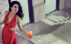 Eva Green, actress, red dress, cocktails, brunette, looking away