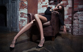 girl with glasses, high heels, chair, girl, sitting, Fedor Shmidt