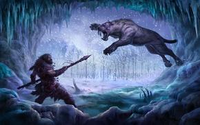 tiger, cave, animals, artwork, fantasy art