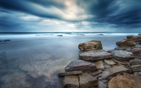 overcast, stones, rock, clouds, water, sea