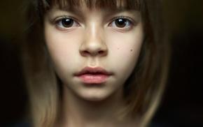 face, auburn hair, brown eyes, blurred, bangs, closeup