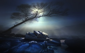 nature, blue, night, water, moonlight, trees