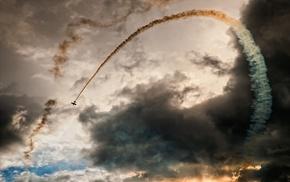 landscape, air force, sky, airplane, smoke, festivals