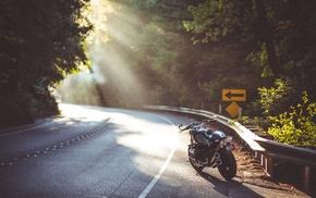highway, sun rays, motorcycle, bmw nineT