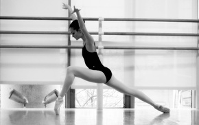 monochrome, Asian, ballerina, leotard