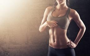 sports bra, leggings, girl, hands on hips, abs