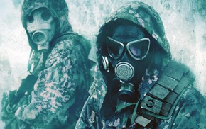 soldier, military, gas masks