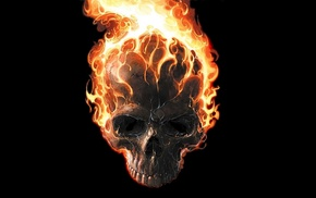 minimalism, teeth, comics, Marvel Comics, Ghost Rider, fire
