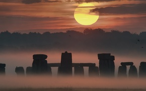 UK, mist, Sun, nature, Stonehenge, architecture