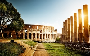sunlight, trees, Sun, Colosseum, Rome, nature