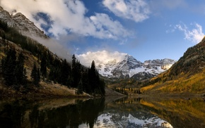 morning, Colorado, landscape, snowy peak, lake, reflection
