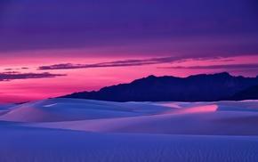 landscape, desert, sky, sand, mountain, sunset