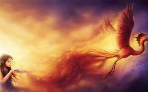 children, artwork, phoenix, fantasy art