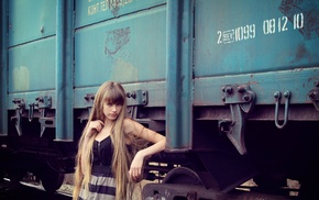 vehicle, train, model, girl