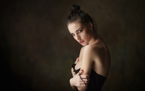 portrait, girl, Maxim Maksimov, bare shoulders, no bra, cleavage