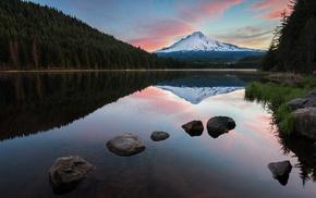 reflection, clouds, forest, landscape, nature, sunrise