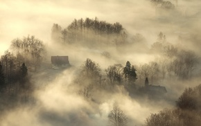 house, sunrise, morning, trees, landscape, aerial view
