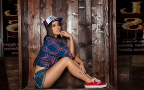 looking at viewer, jean shorts, baseball caps, sitting, Erica Nagashima, sneakers