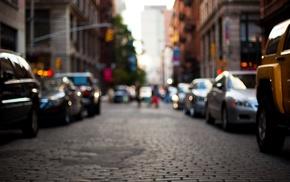 city, road, cobblestone, blurred, street
