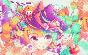 colorful, hat, lollipop, tongues, twintails