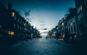 lights, statue, Edinburgh, street, Scotland, pavements