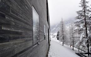winter, snow, cabin