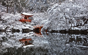 reflection, temple, winter, snow, pond, Japan