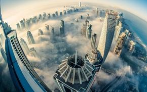 Dubai, mist, clouds, city