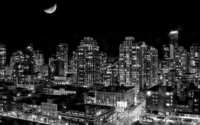 night, Vancouver, British Columbia, moon