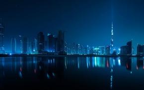 night, reflection, Dubai