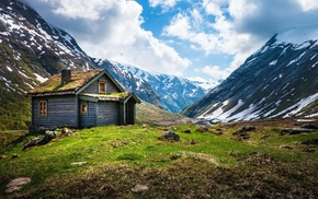 cabin, Norway, fjord
