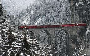 Swiss Alps, bridge, Engadin Valley, snow, train