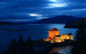 night, lake, castle