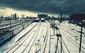 snow, railway, Istanbul, train, rail yard, winter