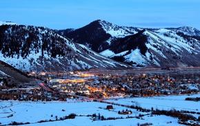 town, Wyoming, snow, winter, mountain, Jackson
