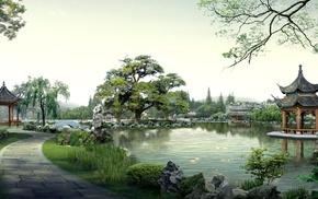 Japan, trees, pond, path