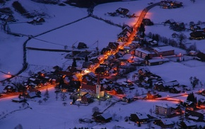 town, snow, Germany, Marbach, winter