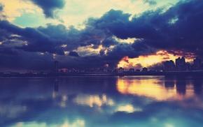 city, clouds, reflection, lake